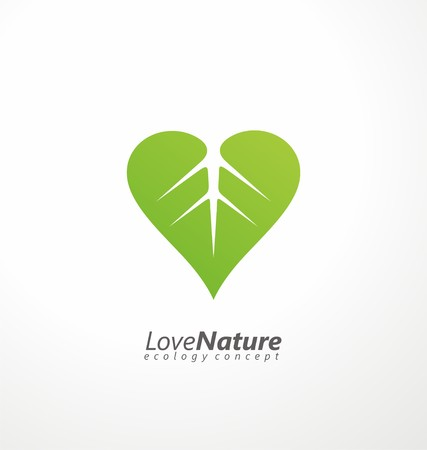 Illustration for Green leaf and heart shape symbol - Royalty Free Image