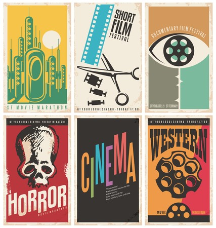 Ilustración de Collection of retro movie poster design concepts and ideas - Imagen libre de derechos