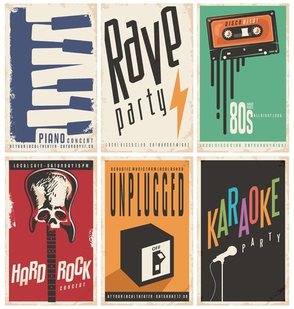 Illustration pour Retro music posters collection - image libre de droit
