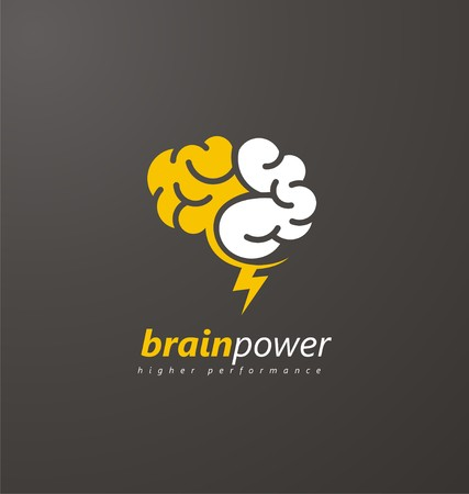 Illustration pour Abstract brain symbol with yellow thunderbolt on a dark background - image libre de droit