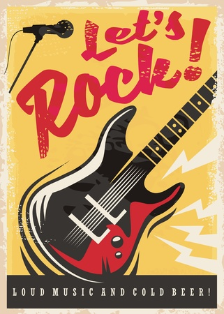 Illustration pour Rock music party retro poster design - image libre de droit