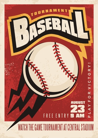 Illustration pour Baseball tournament retro poster design template - image libre de droit