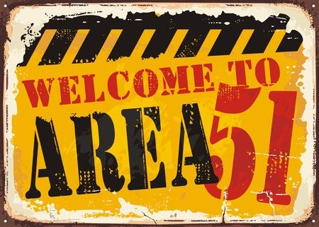 Illustration pour Welcome to area 51 retro road sign concept - image libre de droit