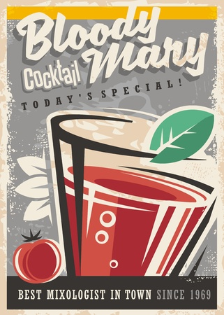 Illustration pour Cocktail bar with glass and Bloody Mary cocktail on old paper texture. Alcoholic drinks vintage promotional design - image libre de droit
