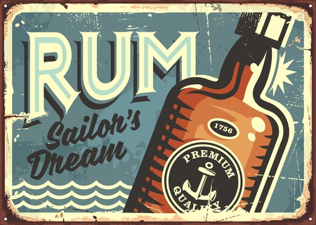 Illustration pour Rum vintage tin sign. Retro poster with bottle of alcoholic drink. - image libre de droit