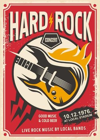 Ilustración de Rock music concert retro pamphlet with electric guitar and flame - Imagen libre de derechos