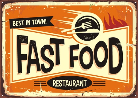 Ilustración de Fast food restaurant vintage tin sign design. - Imagen libre de derechos