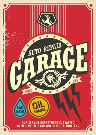 Illustration pour Classic garage retro poster design template. Car service and repair vintage sign. - image libre de droit
