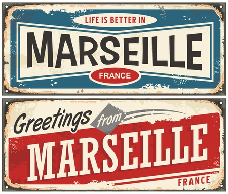 Illustration pour Greetings from Marseille France vintage signs set. Life is better in Marseille retro travel souvenirs. - image libre de droit