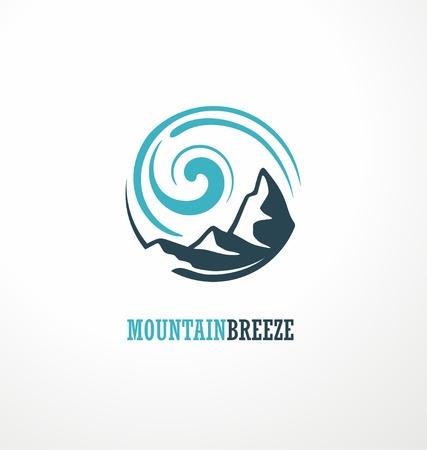 Ilustración de Mountain logo design idea with mountain shape and wind breeze drawing - Imagen libre de derechos
