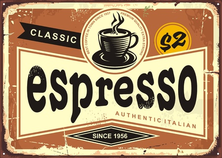 Illustration for Authentic Italian espresso vintage tin sign. - Royalty Free Image
