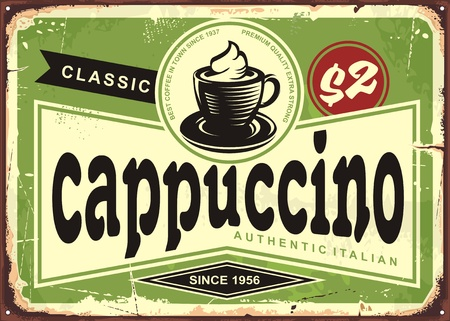 Illustration pour Cappuccino vintage cafe sign with coffee cup on green background - image libre de droit