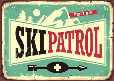 Ilustración de Ski patrol retro sign design - Imagen libre de derechos