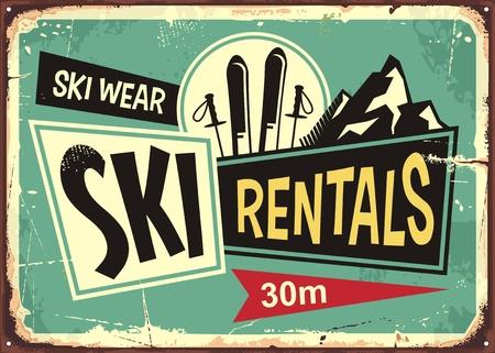 Ilustración de Ski rentals retro tin sign design - Imagen libre de derechos