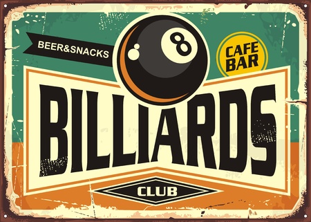 Illustration pour Retro billiards sign design with black eight ball - image libre de droit