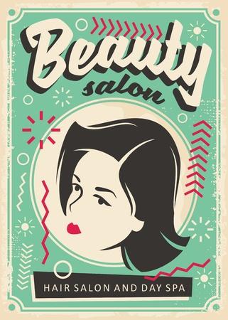Ilustración de Beauty salon retro poster design with pretty young girl portrait. - Imagen libre de derechos