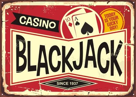 Ilustración de Blackjack retro casino sign. Gambling or casino theme with decorative black jack sign post. - Imagen libre de derechos