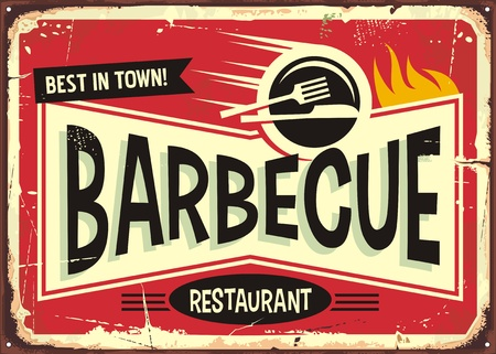 Ilustración de Barbecue retro sign design for fast food restaurant. - Imagen libre de derechos