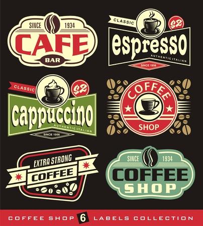 Ilustración de Coffee labels and stickers collection. - Imagen libre de derechos
