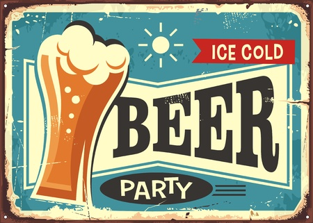 Illustration pour Beer party retro pub sign - image libre de droit