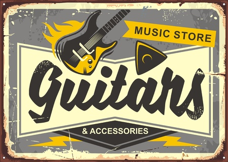 Illustration pour Guitar store retro advertisement sign board with electric guitar, guitar pick and creative typo - image libre de droit