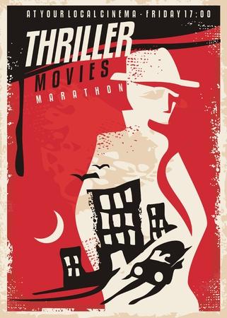 Ilustración de Creative poster design for thriller movie show - Imagen libre de derechos