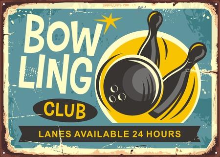 Ilustración de Bowling club retro poster design vector illustration - Imagen libre de derechos
