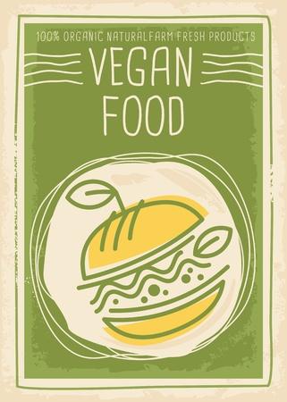 Ilustración de Vegan food promotional banner design - Imagen libre de derechos