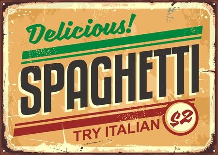 Ilustración de Delicious spaghetti meal vintage sign board advertise - Imagen libre de derechos