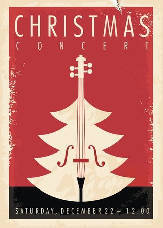 Ilustración de Christmas concert retro poster design for musical event. New year holiday theme. - Imagen libre de derechos