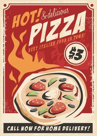 Ilustración de Pizza promotional poster for Italian restaurant. - Imagen libre de derechos