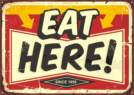 Ilustración de Eat here vintage restaurant tin sign. Promotional ad sign board for food and drink diner. Retro vector illustration. - Imagen libre de derechos