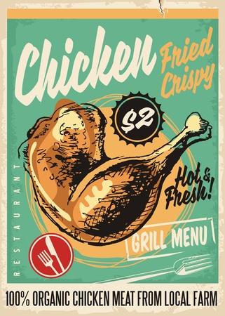 Ilustración de Crispy fried chicken legs retro restaurant menu design with artistic hand drawing - Imagen libre de derechos