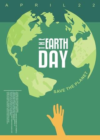 Ilustración de The Earth Day poster design. Save the planet. Environment concept. - Imagen libre de derechos