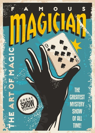 Illustration for Magician poster design with hand silhouette and playing cards. Magic tricks show retro  template on blue background - Royalty Free Image