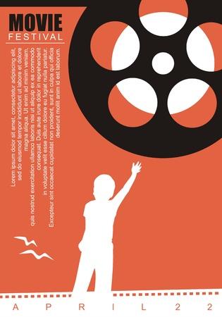 Ilustración de Movie film poster background with film reel and kid graphic - Imagen libre de derechos