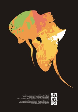 Ilustración de Safari travel poster design with elephant head and Africa continent shape. Adventures and wildlife promo  layout. - Imagen libre de derechos
