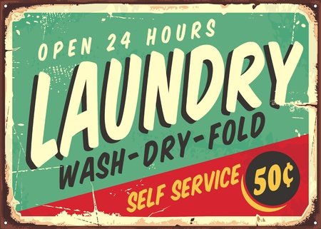 Ilustración de Laundry fifties comic style retro sign banner. Washing clothes promotional poster design on old rusty metal plate. - Imagen libre de derechos