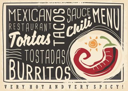 Ilustración de Tacos, tortas, tostadas, burritos, chili, Mexican food restaurant menu design concept. Chalk board menu for hot and spicy food - Imagen libre de derechos