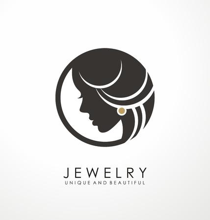 Illustration pour Jewelry logo symbol design with beautiful woman - image libre de droit
