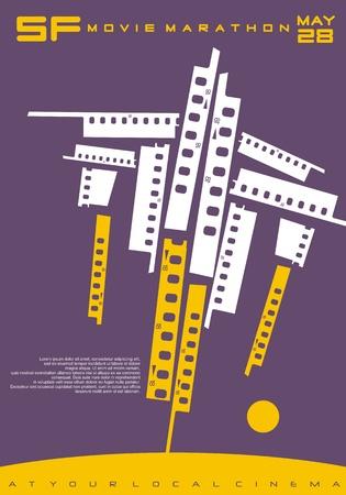 Illustrazione per Conceptual poster design for science fiction movies festival. - Immagini Royalty Free