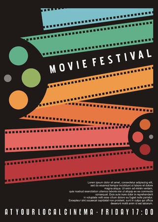 Ilustración de Movie festival poster design. Cinema flyer with colorful film strips. Vector image. - Imagen libre de derechos