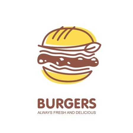 Illustration pour Burger logo design. Fast food restaurant symbol - image libre de droit