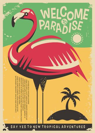 Illustration for Pink flamingo retro poster design for tropical travel destinations. - Royalty Free Image