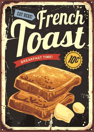 Illustration pour French toast restaurant sign . Retro vector poster for cafe bar or diner. - image libre de droit