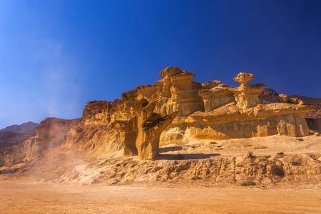 Photo for Bolnuevo Mazarron eroded sandstones in Murcia spain - Royalty Free Image