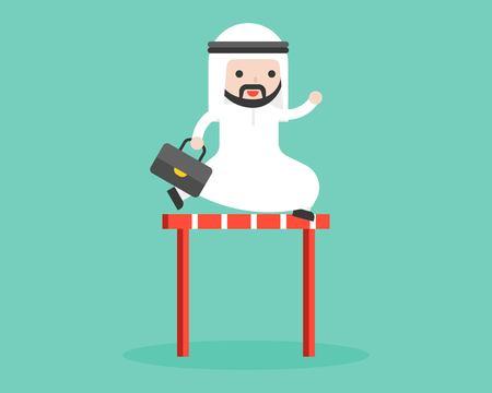 Ilustración de Cute arab businessman jump cross over hurdles illustration, flat design business situation overcome obstacle concept - Imagen libre de derechos