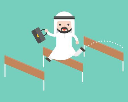 Ilustración de Arab business man jump over hurdle, flat design break trough obstacle - Imagen libre de derechos
