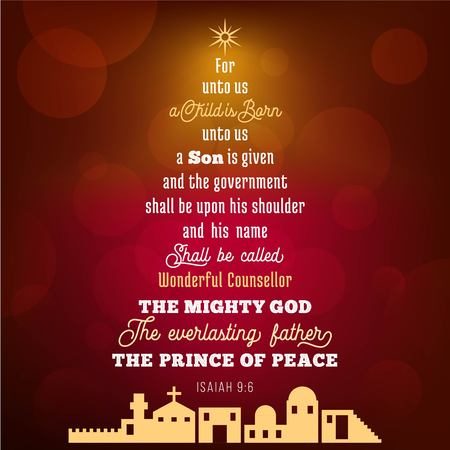 Ilustración de Bible verse from Isaiah 9:6 about jesus christ , a child is born, on bokeh background in Christmas theme, vector illustration - Imagen libre de derechos