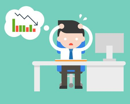 Illustration pour exhausted businessman stress and paranoid at office because bad turnover, flat design vector illustration - image libre de droit